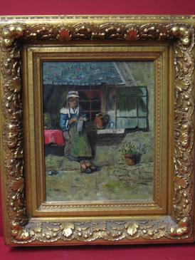 "2008495-0000  ""Peasant Girl Knitting"" at Antique Picture Frames, Ltd."
