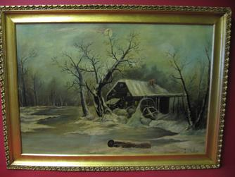 "2008481-0000  ""Old mill by stream"" by I. Wotan at Antique Picture Frames, Ltd."