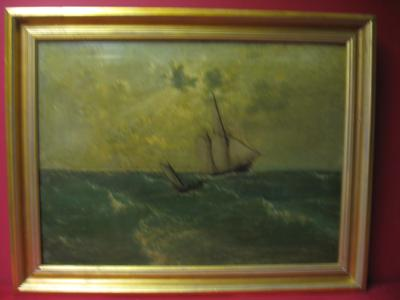 2008473-0000  Two Ships in Rough Water by John Olson Hammerstad at Antique Picture Frames, Ltd.